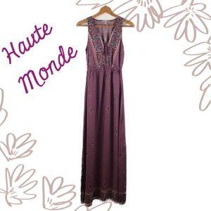 Haute Monde Mauve Floral Boho Maxi Dress Sz Small
